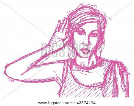 Sketch, comics style female overhearing something with her ear and hand,  surprised