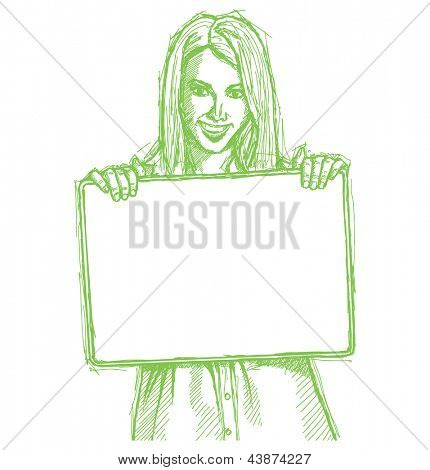 ketch, comics style happy business woman holding blank white card in her hands