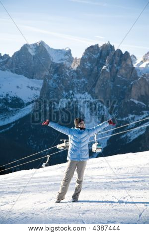 Happy Woman In Italian Alps Resort
