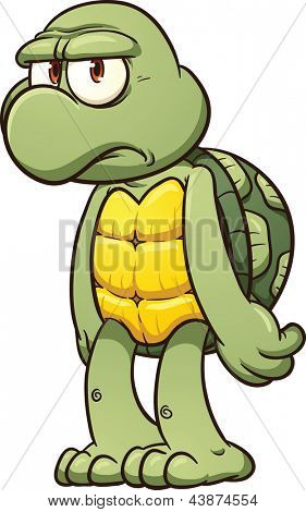 Grumpy cartoon turtle. Vector clip art illustration with simple gradients. All in a single layer.