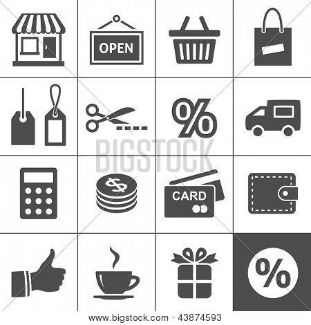 Conjunto de iconos de compras. Simplus serie