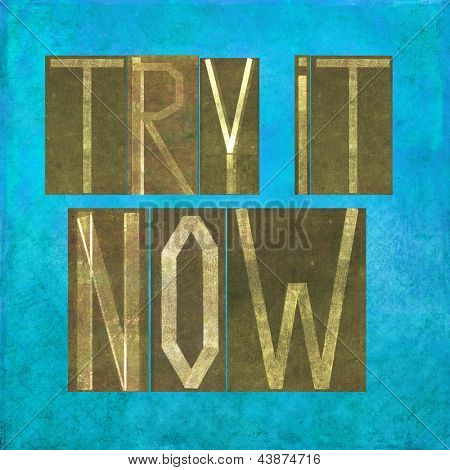 "Earthy background image and design element depicting the words ""Try it now"""