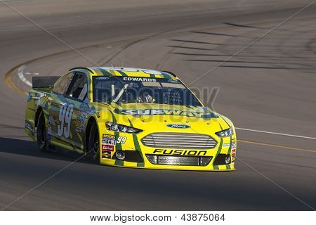 AVONDALE, AZ - MAR 01, 2013:  Carl Edwards (99) takes his car on the track and qualifies 15th for the Subway Fresh Fit 500 race at the Phoenix International Raceway in Avondale, AZ on Mar 01, 2013.