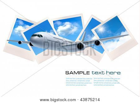 Travel background with airplane in front of photos of blue sky. Vector