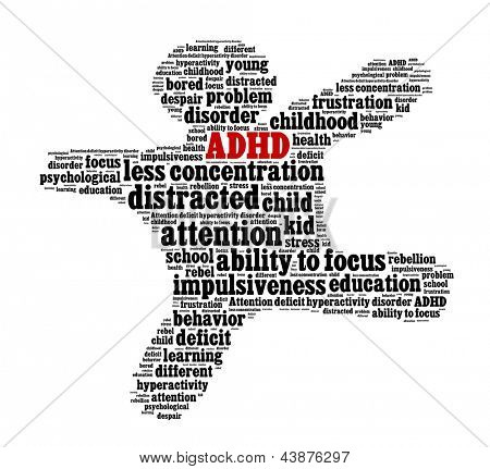 Attention deficit hyperactivity disorder or ADHD in word collage