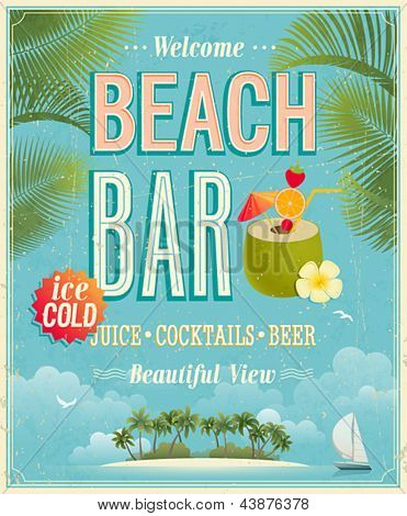 Vintage Beach Bar poster. Vector background.