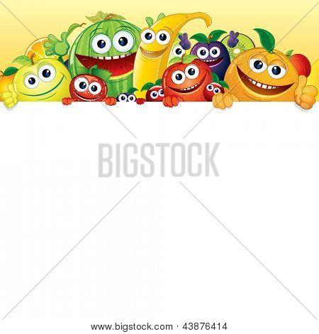 Dibujos animados de frutas y bayas. Comic plátano, manzana ...