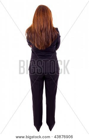 Young business woman from back, isolated on white