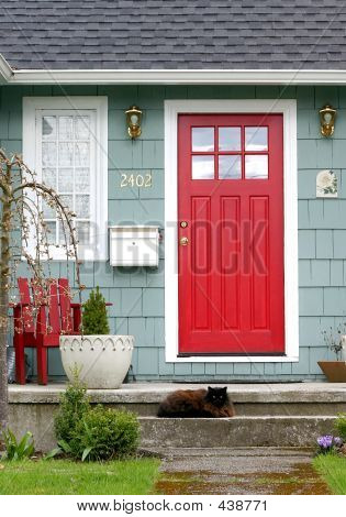 Red Door With Cat