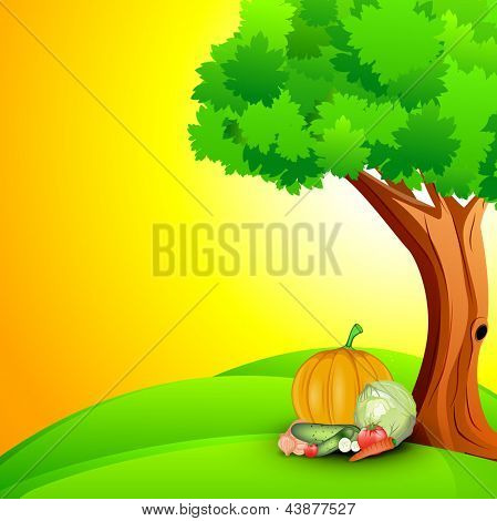 Abstract World health day concept with food and nature..