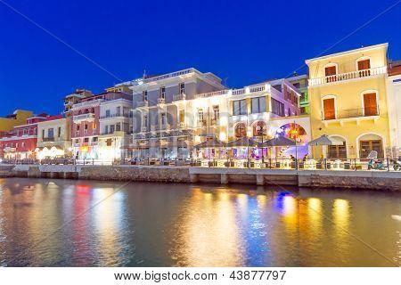 Agios Nikolaos city at night on Crete, Greece