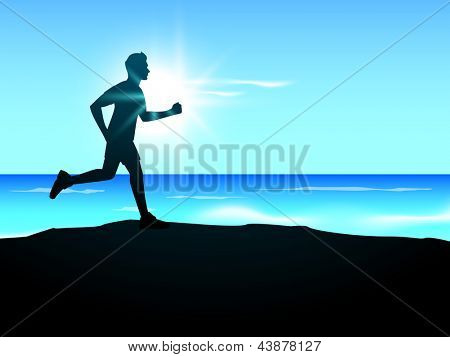 Silhouette of a man athlete running in evening background. EPS 10.