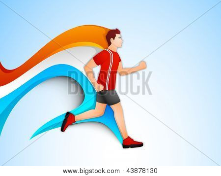 Illustration  of a man athlete running on colorful wave background. EPS 10.