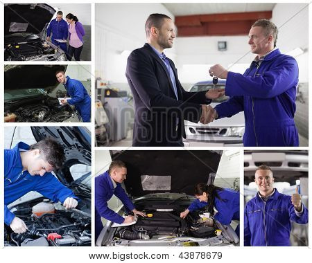 Collage of mechanics in the garage at work with happy customer