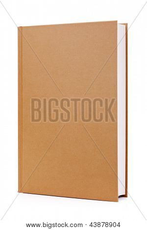 Blank brown hardback book cover ready for text or graphic isolated on white