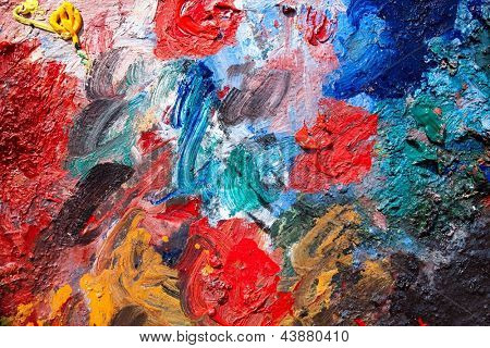 Oil paint mixed on a palette
