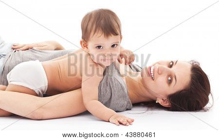 11 monthes baby plays with her mother. Isolated on a white background.