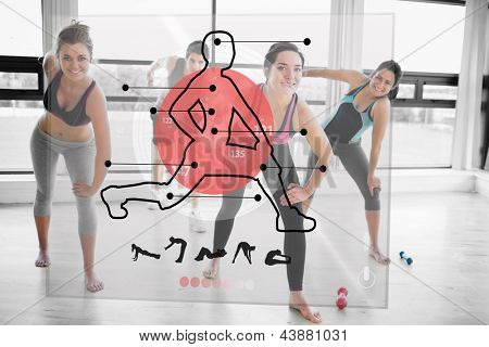 Women doing exercise with futuristic red interface demonstration and trainer