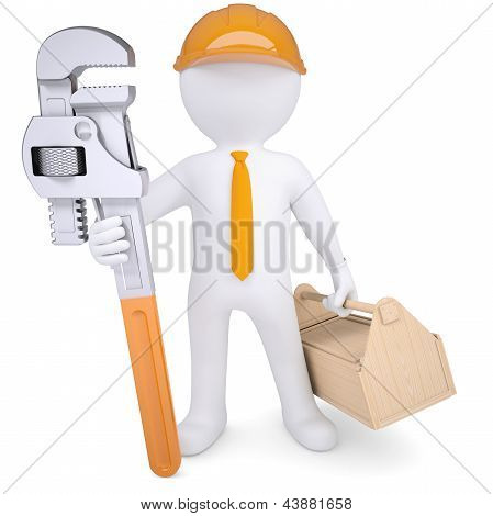 3d man in helmet with pipe wrench and tool box