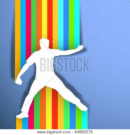 Sports concept with cricket bowler throwing ball on colorful abstract background.