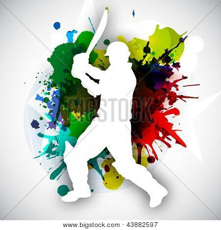 Cricket batsman in playing action on colorful grungy background.