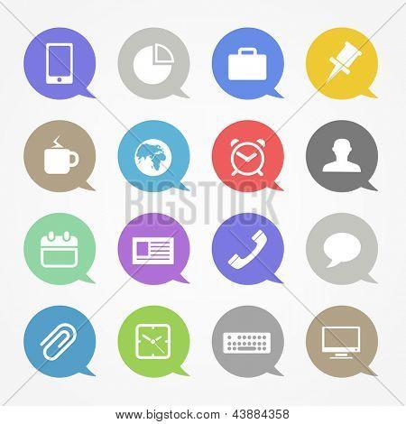 Negocios web icons set en nubes de discurso de color