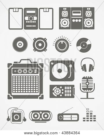 Audio equipment icons collection