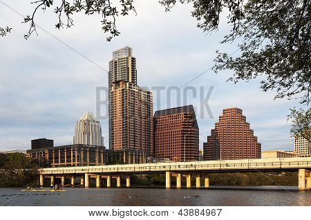 A View of the Skyline Austin at Sunset in Texas