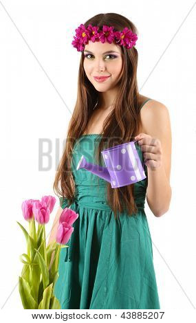 Girl holding  watering can, isolated on white