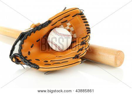 Guante de béisbol, bate y pelota aislado en blanco