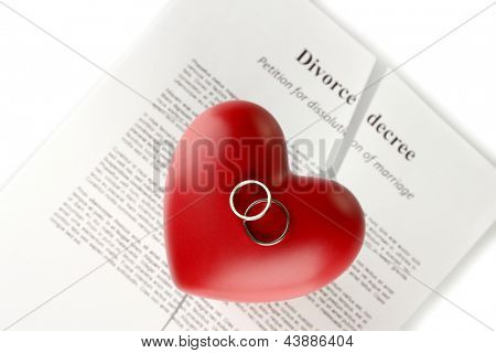 red heart with torn Divorce decree document, on white background close-up