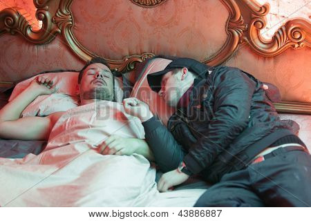 MOSCOW - OCT 23: Director and actor on the set of the video singer Rene, on October 23, 2010 in Moscow, Russia.