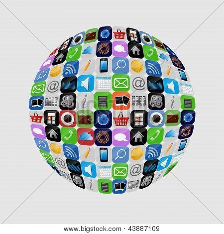 Apps icon set vector illustration