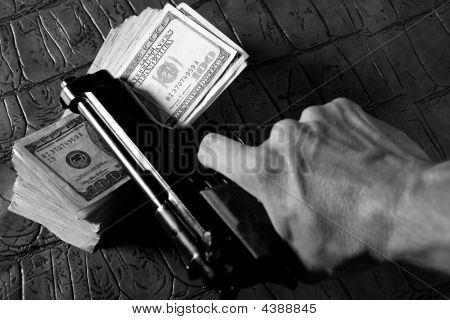 Dollar Notes And Gun