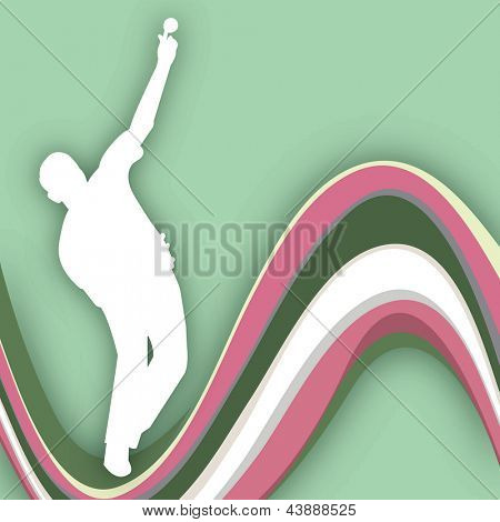 Cricket bowler in playing motion on wave background.