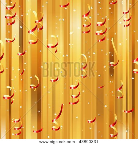 Red paper streamers seamless over golden background. EPS 10