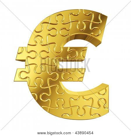 Euro currency sign made from gold puzzle pieces