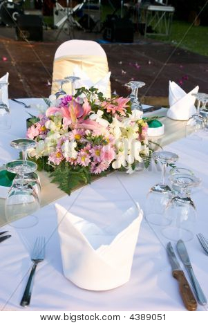 Detail Of Party Table With Flowers