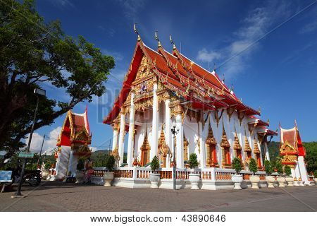 Chalong temple at sunny day. Wat Chalong is the most important temple of Phuket