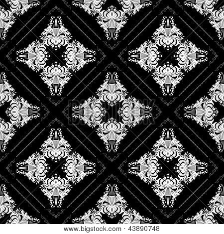 Seamless black and white ornate vintage vector wallpaper pattern with flowers.