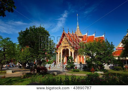 Chalong temple with blue sky on the background. Thailand
