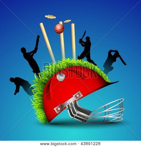 Silhouette of cricket batsman and bowlers in playing action on helmet pitch with stump  wickets and ball, sports concept.