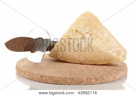 Piece of Parmesan cheese with knife isolated on white