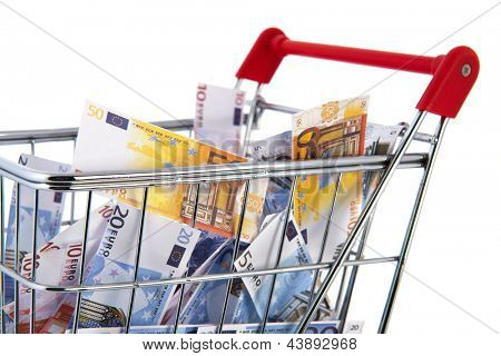 Shopping cart Euro banknotes isolated over white background