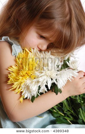 Thoughtful Girl With Flowers