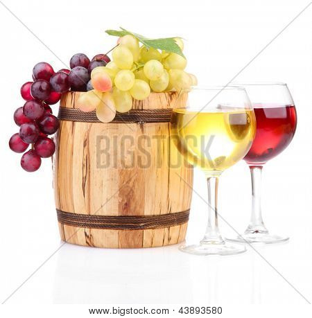 Barrel and glasses of wine and grapes, isolated on white