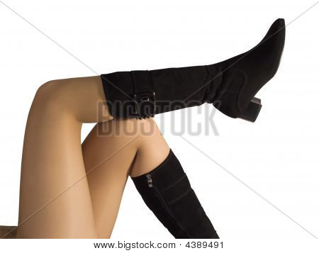 Woman Legs In Black  High Shoes