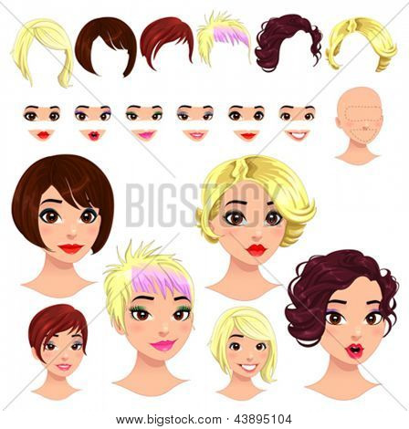 Fashion female avatars. 6 hairstyles, 6 eyes, 6 mouths, 1 head, for multiple combinations. In this image, some previews. Vector file, isolated objects.