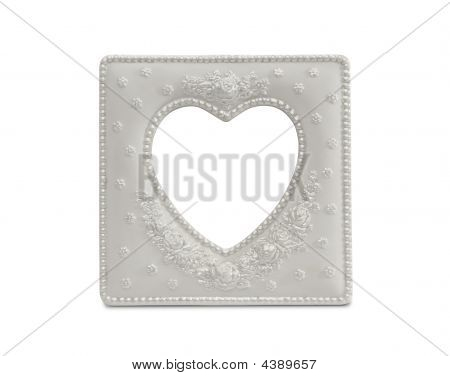 White Heart Shaped Frame On White