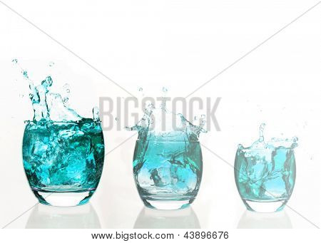 Serial arrangement of  pale blue liquid splashing in tumbler on white background